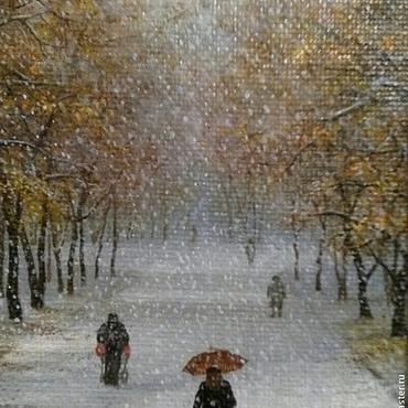 Картины и панно ручной работы. Ярмарка Мастеров - ручная работа Авторская картина Первый снег. Handmade.