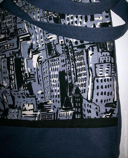 Сумка из джинсовой ткани с урбанистическим пейзажем на лицевой стороне Городской пейзаж сумка для девушки сумка для студентки повседневная сумка джинсовая сумка
