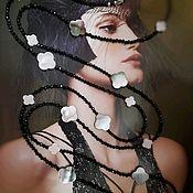 Работы для детей, handmade. Livemaster - original item Long evening beads made of spinel and mother of pearl in the Van kleef style. Handmade.