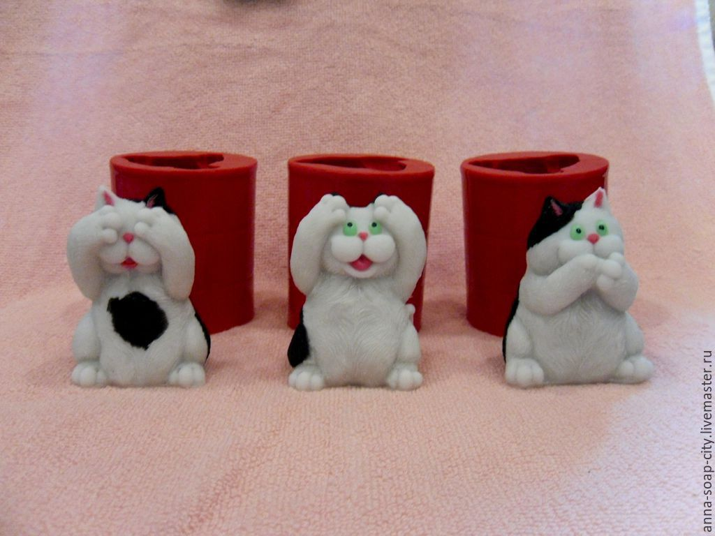 Silicone mold ' Cats - do not see, do not hear, do not say', Form, Arkhangelsk,  Фото №1