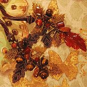 """Украшения ручной работы. Ярмарка Мастеров - ручная работа Бисерный жгут """"Золотая осень"""" с агатом и тигровым глазом. Handmade."""