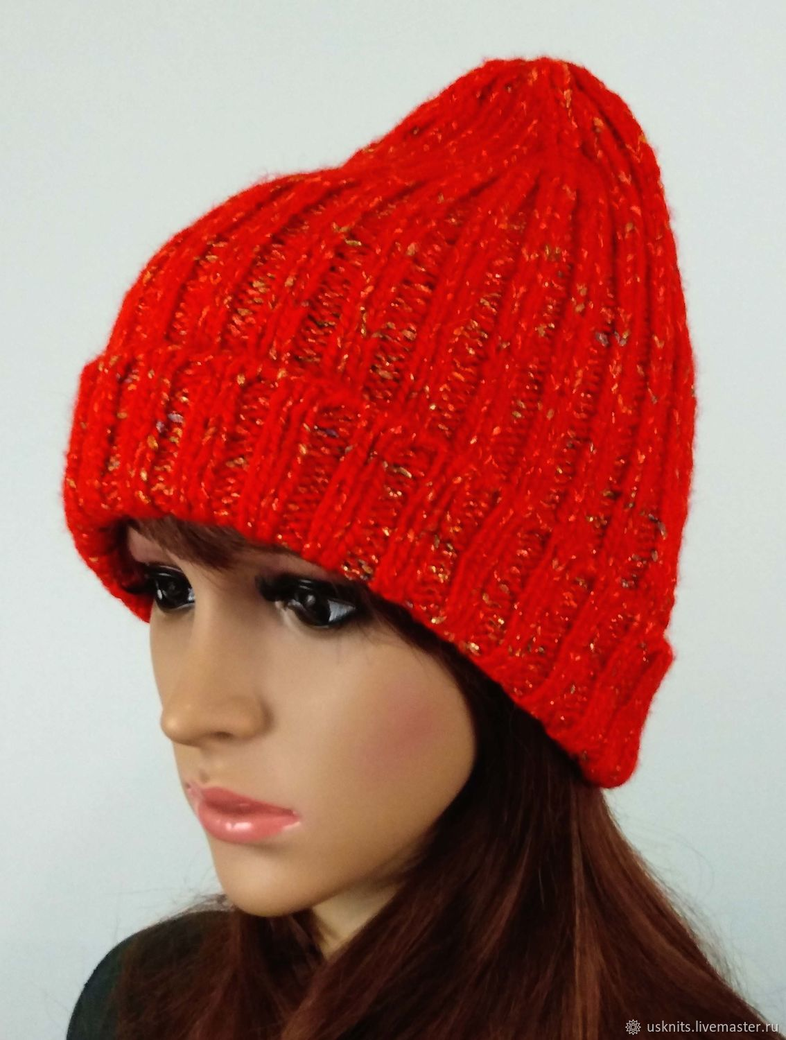 Knitted pumpkin hat onion hat with shiny thread and lapel, Caps, Korolev,  Фото №1