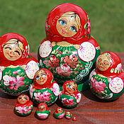 Русский стиль ручной работы. Ярмарка Мастеров - ручная работа Матрешка 10 мест зел. Handmade.