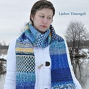 Аксессуары handmade. Livemaster - original item Blue Knitted Wool Scarf Long Stripes Oversized Knit Classy Scarf. Handmade.