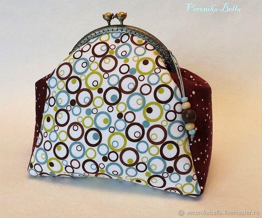 Cosmetic bag with clasp 'Circles', Wallets, Polyarnye Zori,  Фото №1