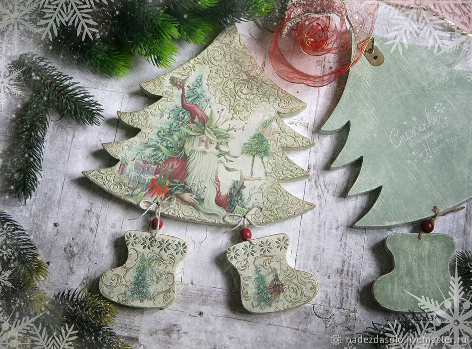 Panel Mysterious Christmas tree. Decoupage panels, Tree, Khimki,  Фото №1