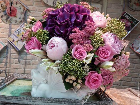 """Букеты ручной работы. Ярмарка Мастеров - ручная работа. Купить Букет из живых цветов """"Летний палисадник"""". Handmade. Розовый, пионы"""
