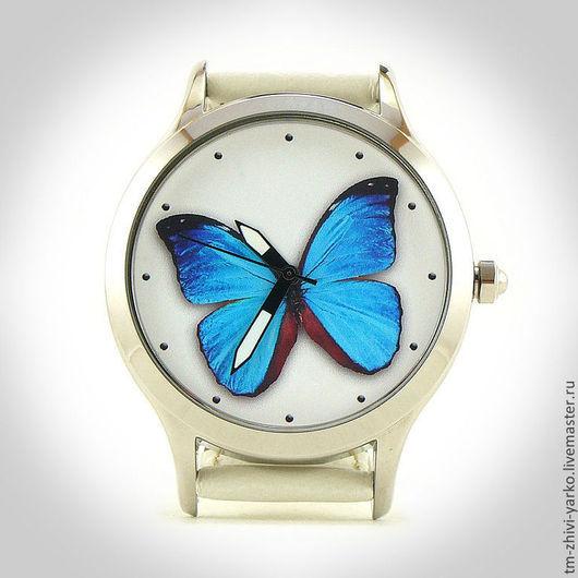 """Оригинальные дизайнерские наручные часы ручной работы """"Бабочка Морфо"""""""