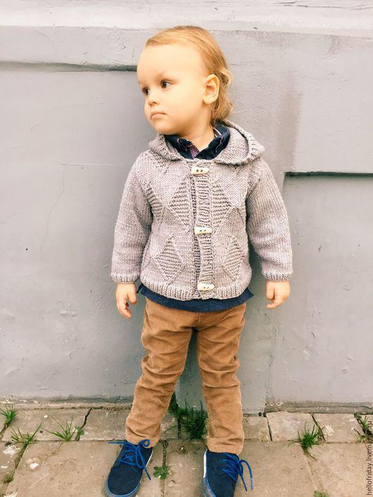 Одежда для мальчиков, ручной работы. Ярмарка Мастеров - ручная работа. Купить Детский кардиган Classic. Handmade. Серый, детский кардиган
