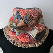 Аксессуары handmade. Livemaster - original item Beige knitted Snood-pink scarf tube interlock. Handmade.