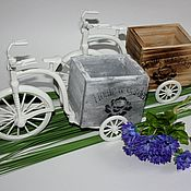 Материалы для творчества ручной работы. Ярмарка Мастеров - ручная работа Кашпо велосипед с деревянной корзиной.. Handmade.