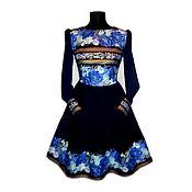 """Одежда ручной работы. Ярмарка Мастеров - ручная работа Платье """"Аркадия"""" т синее. Handmade."""