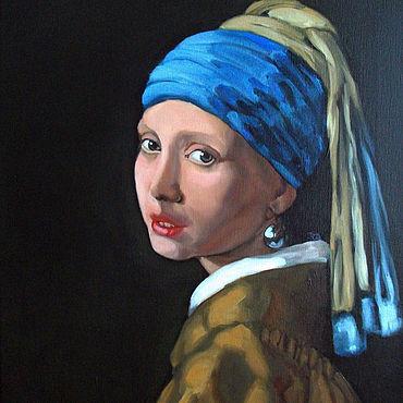 Картины и панно ручной работы. Ярмарка Мастеров - ручная работа Картины: Девушка с жемчужной сережкой. Handmade.