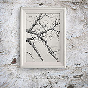 Картины и панно handmade. Livemaster - original item the picture Winter branches (in frame, white, white, black-and-white). Handmade.
