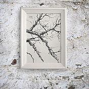 Картины и панно ручной работы. Ярмарка Мастеров - ручная работа картина Зимние ветки (в рамочке, белая, белый цвет, черно-белый). Handmade.