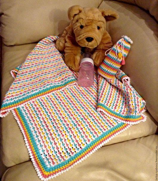 """Пледы и одеяла ручной работы. Ярмарка Мастеров - ручная работа. Купить Детский плед """"Ассорти"""". Handmade. Разноцветный, плед крючком"""