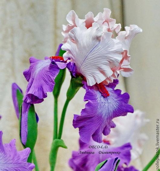 """Цветы ручной работы. Ярмарка Мастеров - ручная работа. Купить Цветок ириса """"Мгновение"""".. Handmade. Ирисы, домашний уют, радуга"""