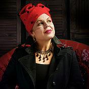 "Аксессуары handmade. Livemaster - original item Copy of of ""feminine cap сhalma with bow .wool, knitted, felted. Handmade."