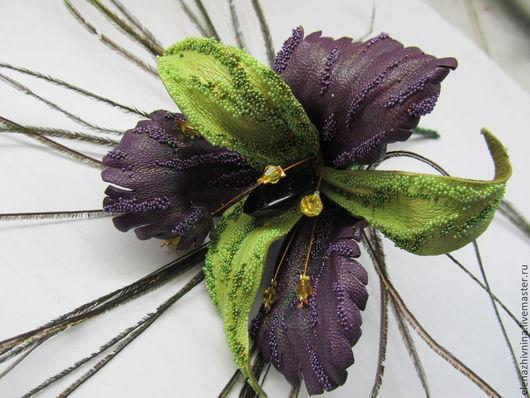 Броши ручной работы. Ярмарка Мастеров - ручная работа. Купить Брошь Орхидея фиолетовая. Handmade. Фиолетовый, кожа натуральная