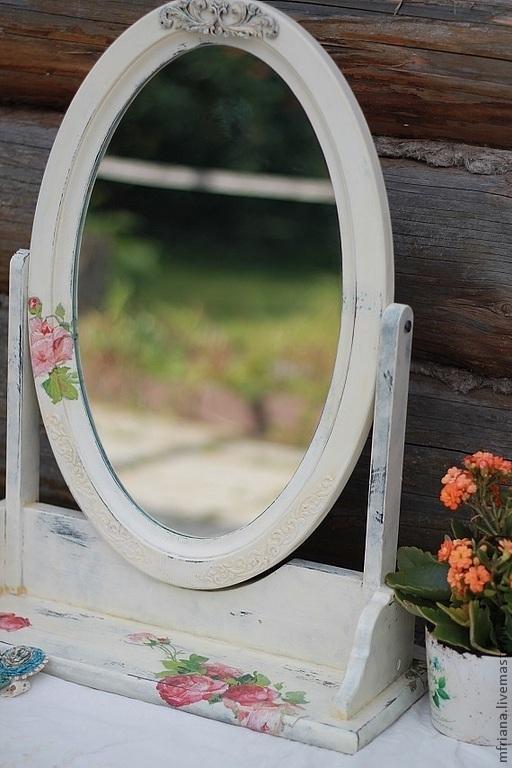 """Зеркала ручной работы. Ярмарка Мастеров - ручная работа. Купить Зеркало Шебби шик """"УТРО"""". Handmade. Белый, подарок женщине"""