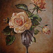 """Картины и панно ручной работы. Ярмарка Мастеров - ручная работа Картина ручной работы """"Натюрморт с розами"""". Handmade."""
