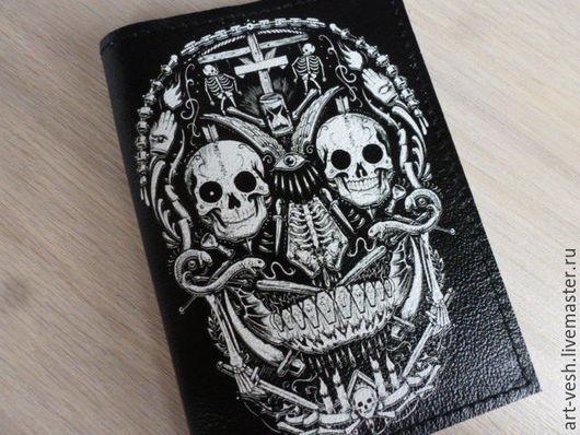 Кожаная обложка для паспорта-1 Кожаная обложка для паспорта  Черепа 3. Подарок на 23 февраля