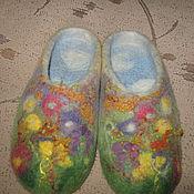 """Обувь ручной работы. Ярмарка Мастеров - ручная работа Тапочки из шерсти """"Тема лета"""". Handmade."""