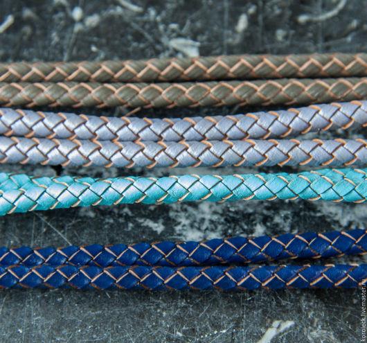 Для украшений ручной работы. Ярмарка Мастеров - ручная работа. Купить Шнур кожаный плетеный диаметром 5 мм. Handmade.