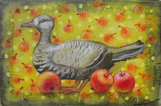 Натюрморт ручной работы. Ярмарка Мастеров - ручная работа. Купить Гусь в яблоках. Handmade. Салатовый, красные яблоки