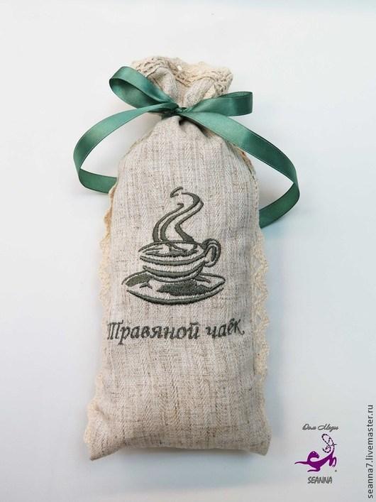 """Кухня ручной работы. Ярмарка Мастеров - ручная работа. Купить Мешочек льняной для чая с вышивкой """"Herbal Tea"""" (чай из трав). Handmade."""