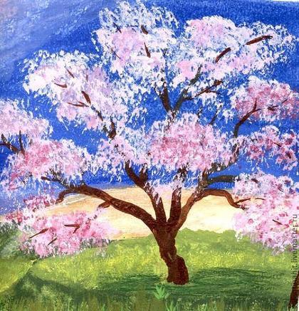 """Пейзаж ручной работы. Ярмарка Мастеров - ручная работа картина """"Сакура цветет"""" (розовый, синий). Handmade."""