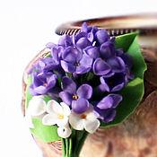 Украшения handmade. Livemaster - original item Brooch Lilac.Brooch flower lilac.Polymer clay.Cold porcelain.. Handmade.