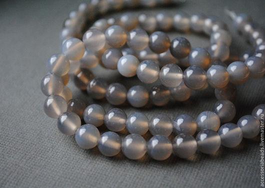 Агат серый бусины шар гладкий 6 мм, 8 мм. Бусины агата для украшений.