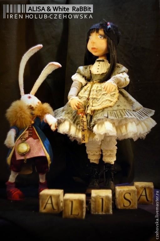 Коллекционные куклы ручной работы. Ярмарка Мастеров - ручная работа. Купить Alisa & White Rabbit / Алиса и Белый Кролик. Handmade.