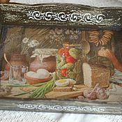 Подносы ручной работы. Ярмарка Мастеров - ручная работа Поднос В стиле полотен старых мастеров коричневый. Handmade.