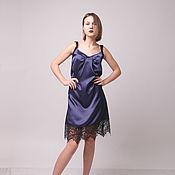Одежда ручной работы. Ярмарка Мастеров - ручная работа Платье-комбинация из сатина с кружевом. Handmade.