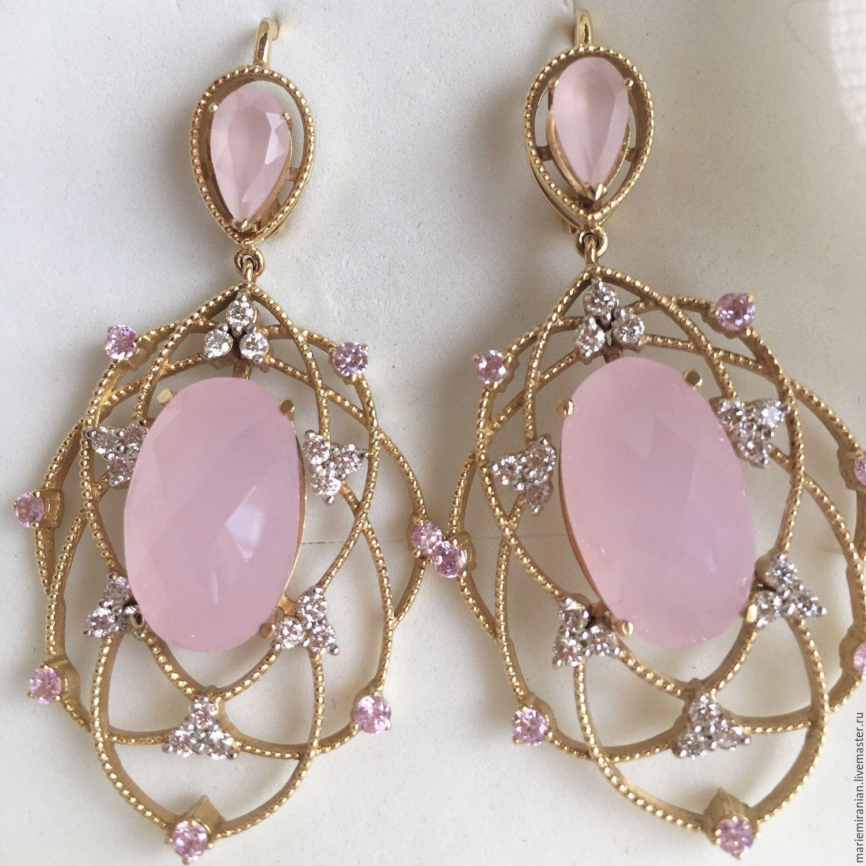 Earrings Manon. Rose quartz, diamonds, gold 585, Earrings, Moscow,  Фото №1