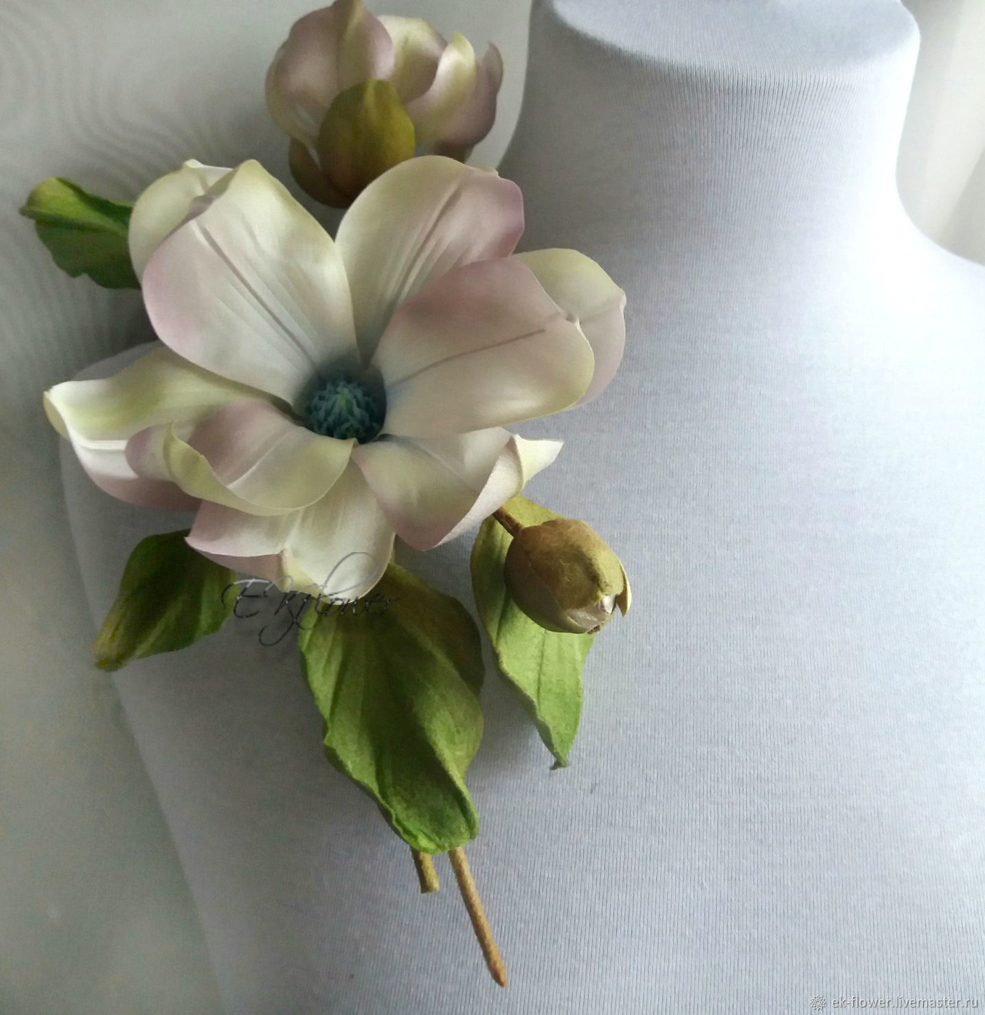 Silk flowers brooch the scent of magnolia shop online on silk flowers brooch the scent of magnolia silk mightylinksfo Choice Image