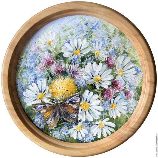 Картины цветов ручной работы. Ярмарка Мастеров - ручная работа. Купить Ромашки. Handmade. Голубой, ромашки, незабудки, одуванчики, бабочка