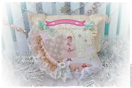 Новый год 2017 ручной работы. Ярмарка Мастеров - ручная работа. Купить Новогодняя декоративная подушечка в стиле Шебби.... Handmade.