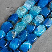 Бусины ручной работы. Ярмарка Мастеров - ручная работа Агат Бразильский 16х10 мм синий полосатый прямоугольные бусины. Handmade.