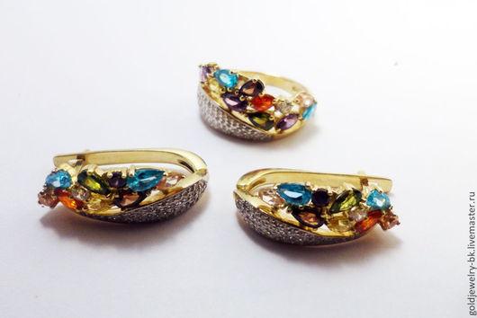 Комплекты украшений ручной работы. Ярмарка Мастеров - ручная работа. Купить Комплект Золотое Бриллиантовое кольцо серьги с топазами Коктейль. Handmade.