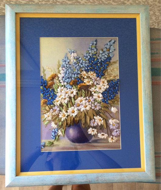 Картины цветов ручной работы. Ярмарка Мастеров - ручная работа. Купить Дильфиниумы и ромашки. Handmade. Синий, синие цветы, стекло