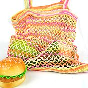 Сумки и аксессуары handmade. Livemaster - original item Shoppers: Bag-string bag, knitted from cotton, multi-colored. Handmade.