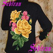 """Одежда ручной работы. Ярмарка Мастеров - ручная работа Кардиган связанный на спицах  """"Розы для Королевы"""", авторская. Handmade."""