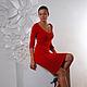 Платья ручной работы. Ярмарка Мастеров - ручная работа. Купить Нарядное красное платье. Handmade. Ярко-красный, Машинное вязание