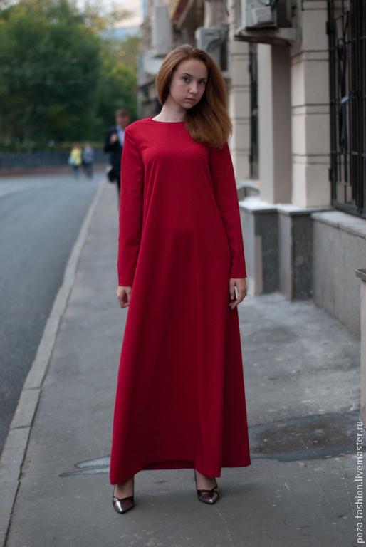 """Платья ручной работы. Ярмарка Мастеров - ручная работа. Купить Платье """"Полет"""" длинное,красное. Handmade. Ярко-красный, красный"""