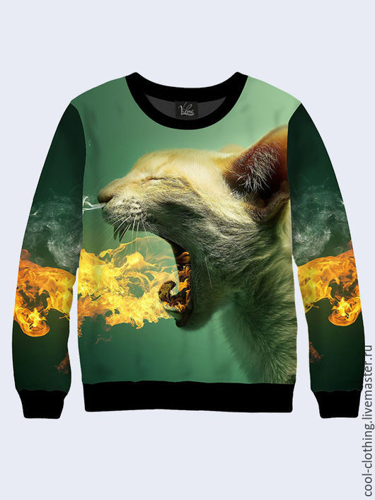 """Кофты и свитера ручной работы. Ярмарка Мастеров - ручная работа. Купить Свитшот """"Огнедышащий кот"""". Handmade. Рисунок, яркая кофта"""