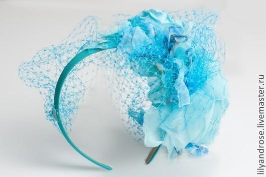 Одежда и аксессуары ручной работы. Ярмарка Мастеров - ручная работа. Купить Вуалетка- ободок. Розы на ободке с вуалью. Handmade.
