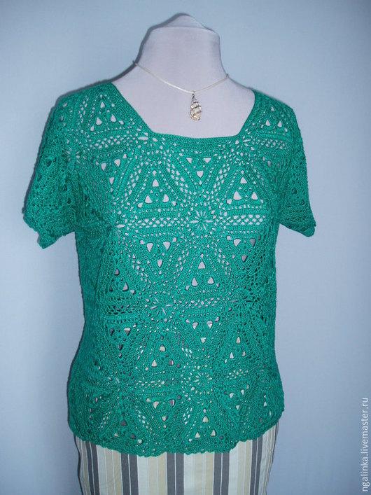 Кофты и свитера ручной работы. Ярмарка Мастеров - ручная работа. Купить блузка из хлопка Ажурные треугольники. Handmade. Тёмно-бирюзовый
